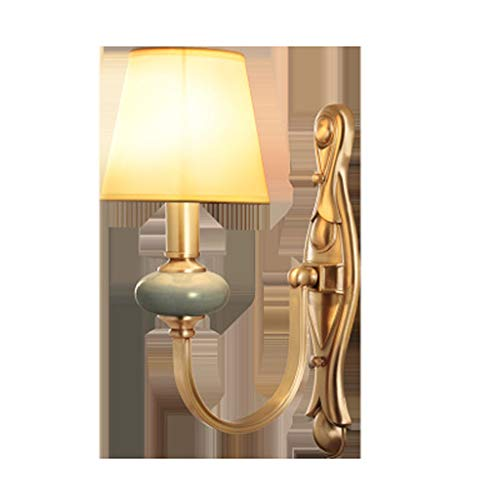 Amerikanische keramische Wandlampe, alles kupferne Schlafzimmer-Lampen-Wohnzimmer-Gang-doppelte Hauptbeleuchtung des materiellen E14, Nachtleselicht (Messing Antik Boden Leselampen)