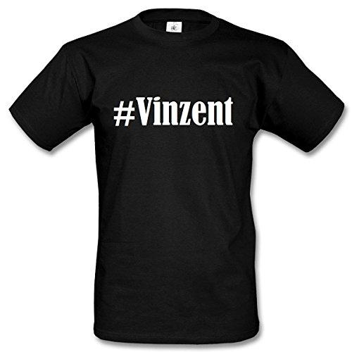 T-Shirt #Vinzent Hashtag Raute für Damen Herren und Kinder ... in den Farben Schwarz und Weiss Schwarz