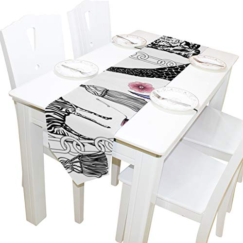 Yushg Zebra Leopard Niedlichen Tier Kommode Schal Tuch Abdeckung Tischläufer Tischdecke Tischset Küche Esszimmer Wohnzimmer Hause Hochzeitsbankett Decor Indoor 13x90 Zoll