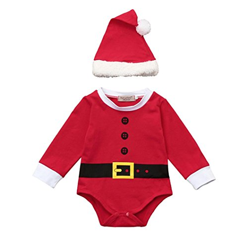 Baby Kinderbekleidung Softshell Overall Hirolan 4 Stück Säugling Kinder Sankt Weihnachten Strampelhöschen Lange Ärmel Tops + Plüschanzug Hosen + Hut + Socken Weich Rot Outfit Set Kostüm (70, Red2)
