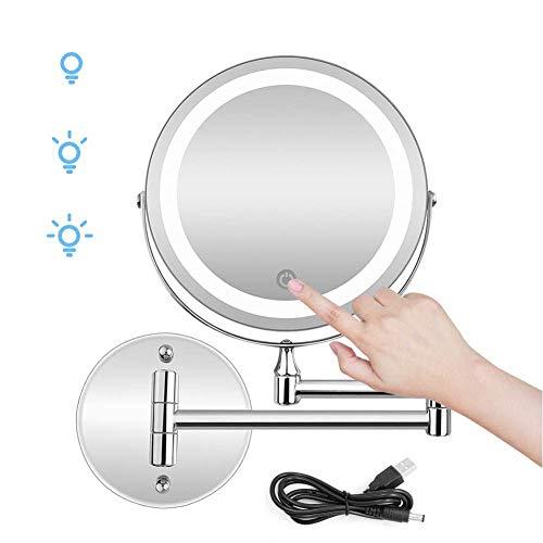 Espejo de Maquillaje Montaje de Pared Iluminado Recargable con 10X LED de Aumento Pantalla de Espejo...