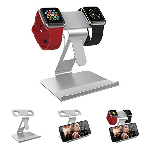 Aussparung Sammlung (ATOPMORE 2 in 1 Apple iWatch Dual Head Alu Ständer und Tischplatte Handy Stand Tablet Holder Aluminium Halterung Lade Dock Station für iPhone 7 7plus 6S 6plus 5 5s, iWatch (38mm 42mm) Silber)