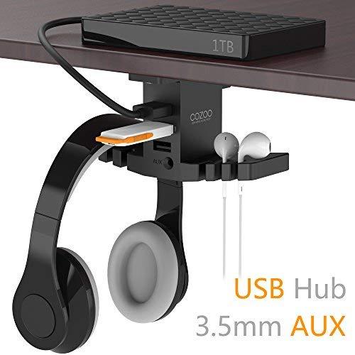 COZOO Kopfhörer Ständer mit USB Hub(1*usb3,0 + 2*usb2,0) mit 3,5mm AUX Audio Jack - Schnittstelle Versteckter Kopfhörer Halter Kleiderbügel Gaming Headset Holder für Spielliebhaber