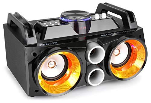 Fenton MDJ100 SONO 100 W Avec Batterie • Puissance 100 watts • Streaming audio Bluetooth • USB/MP3/SD • Haut-parleurs éclairés par LEDs • Facile à transporter • Batterie intégrée