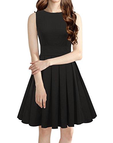 LUOUSE Sommer Damen Ohne Arm Kleid Dress Vintage kleid Junger (Kleider Armee)