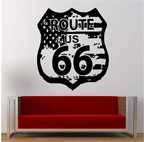 zwyluck Wandaufkleber 3D Route 66 Straßenschild USA Flagge Vintage Wand Grafik Aufkleber Aufkleber Wandbild Verlassen Schlafzimmer Room Home Decor 57 * 57 cm -