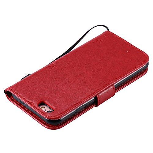 Etui iPhone 4S , Camiter bleu Conception de chat d'arbre Etui Multifonctions pour iPhone 4 /4S - Emballage Premium - Housse Format Portefeuille (Wallet Case) avec Support Intégré + Chiffon de nettoyag rouge