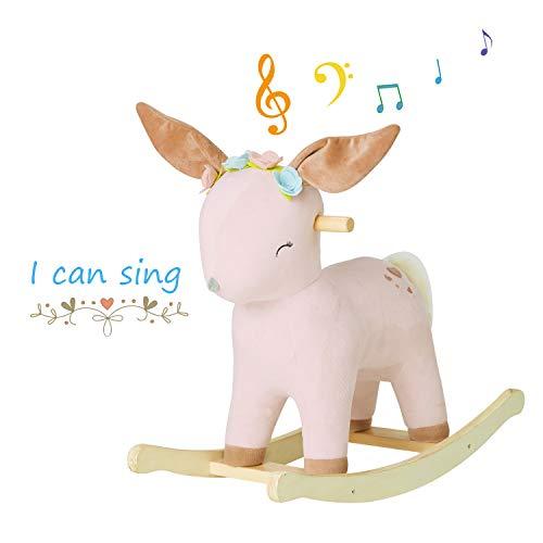 labebe 【nueva】 caballito balancin para bebe, cierva balancin con 3 canciones para niños de 1 a 3 bebes, caballo balancin/caballito de madera/balancin madera/correpasillos bebes/balancin bebe peluche