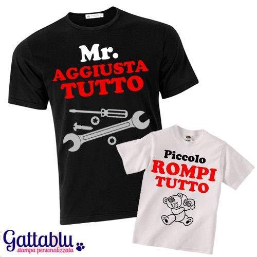 eb860d99c Set padre e figlio t-shirt uomo + t-shirt bimbo Mr. Aggiusta