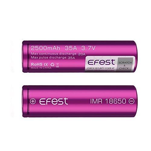 EFEST 2500 mah 20A IMR Batería superior plana de alto drenaje (2 en un paquete)...