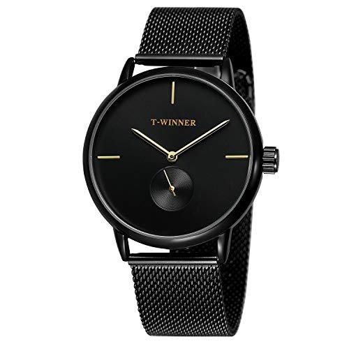 YANGSANJIN Herren Uhr Armband aus Stahl rostfrei wasserdichte Armbanduhr ultradünnes Ziffernblatt Schlichtes Design - Männeruhr, D