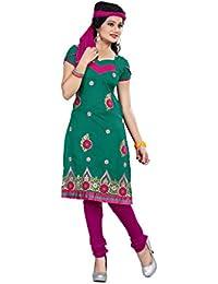 Jheenu Women's Rama Cotton anarkali Embroidered Unstitched Dress Material