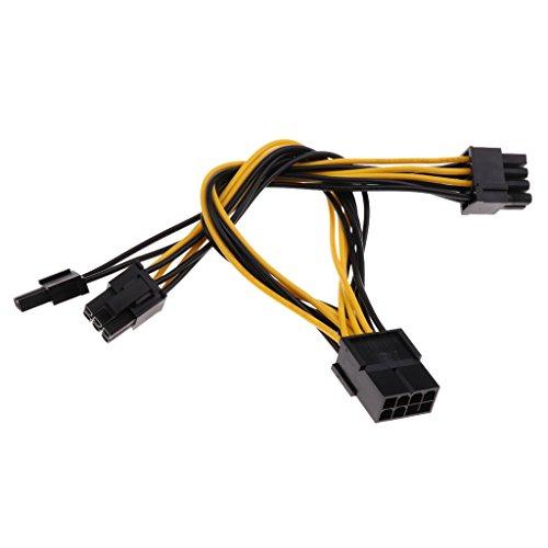 Baoblaze 1x Grafikkarten Stromadapter Kabel 8-polig zu PCIe 2X 6+2-polig Stecker PCI Express Stromkabel Netzleitung für den Anschluss an Videokarten