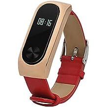 Malloom Reemplazo de cuero pulsera correa para Xiaomi Mi Band 2 Smartband (rojo #)