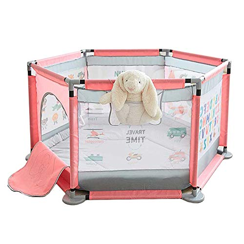Parc- Bébé Barrière De Sécurité 6 Panneau Portable Centre D'activités pour Enfants pour Enfant en Bas Âge/Nouveau-né- 65x140cm- Rose