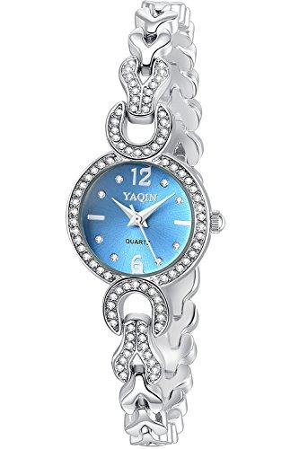 Inwet Cristal Elegante Mujer Reloj Analógico de Cuarzo, Azul Analógico Dial, Correa de Acero Inoxidable