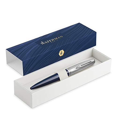 Waterman Emblème penna roller, blu con finiture cromate, punta fine con ricarica di inchiostro nero, confezione regalo