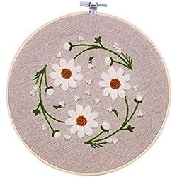 Gama completa de bordado con kit de herramientas DIY flor margarita patrón pañuelo para regalo DIY producto de tejer E