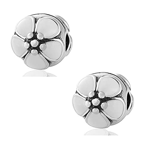 Hoobeads 2pcs*White Enamel Cherry Blossom Clip Authentic.925 Sterling Silver Clip Lock Stopper Bead Charms