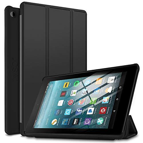 IVSO Funda Carcasa para Nuevo Tablet Fire 7 2019, Slim PU Protectora Carcasa Cover para Nuevo Tablet Fire 7 (9.ª generación - Modelo de 2019), Negro