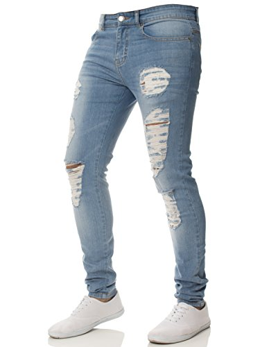 Enzo New Mens Super Stretch Skinny Jeans Ripped Distressed Designer
