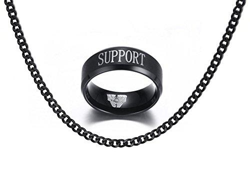 Vnox Edelstahl League of Legends LOL Unterstützung graviert Fingerringe für Männer Frauen Geschenk,schwarz,frei Panzerkette Halskette