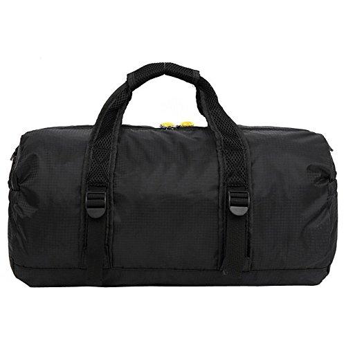 Sijueam Faltbare Tasche Nylon Wasserdichte Reisetasche Multifunktionstasche 3 in 1 Multi Use Bag für Reise Turnhalle Urlaub Schwarz