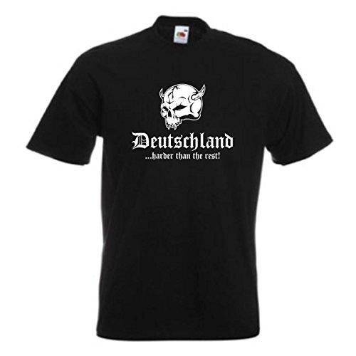 T-Shirt DEUTSCHLAND harder than the rest, schwarzes Baumwoll Ländershirt mit Totenkopf & Schriftzug, große Größen bis 12XL (WMS05-01a) Schwarz