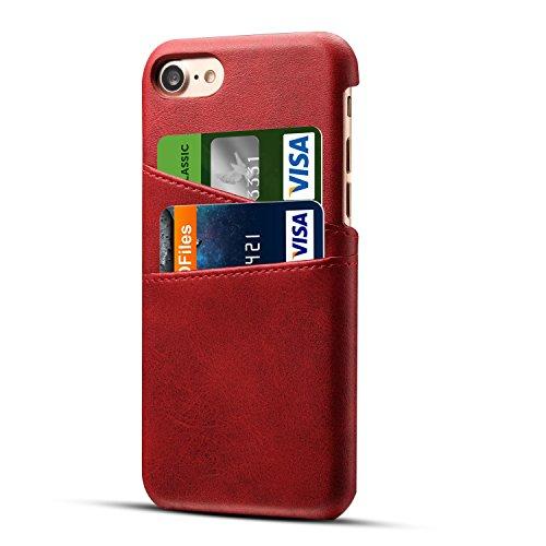 iPhone 7 Plus Hülle, Pasonomi [Vintage-Stil] [2 Kartenslots] Ultradünne PU Leder Wallet Case Tasche für Apple iPhone 7 Plus 5.5 Zoll (Dunkelbraun) Rot