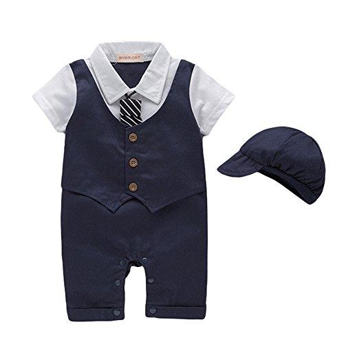 G-Kids Baby Jungen Strampler Smoking Gentleman Strampler Sommer Kleidung Outfit Taufkleidung Fliege mit Hut (Dunkelblau, 6-9 Monate/80)
