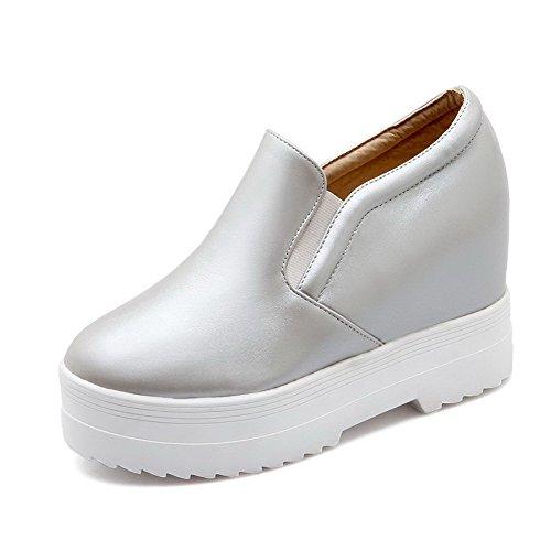 VogueZone009 Femme Couleur Unie Pu Cuir à Talon Haut Rond Tire Chaussures Légeres Argent