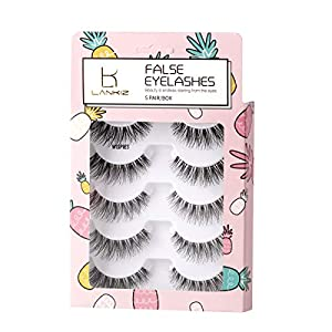 False Eyelashes 3D Flexible Demi Wispies False Lashes Reusable Handmade Cross Fake Eye Lashes for Makeup 5 Pairs Natural Looking Black Eyelashes by LK LANKIZ