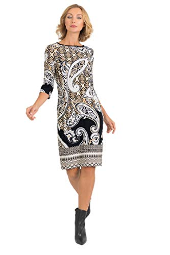 Joseph Ribkoff Black Tan & Ivory Dress Style - 193667 Fall 2019 Hot Styles