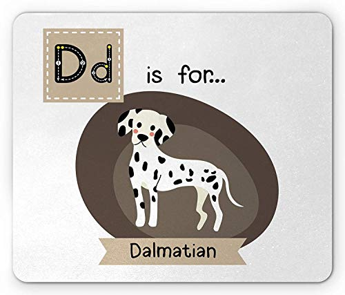 Dalmatian Mouse Pad, Letter D Alphabet Quotation Puppy Children Zoo Kids Vocabulary in Cartoon Style, Standard Size Rectangle Non-Slip Rubber Mousepad, Multicolor 9.8 X 11.8 inch