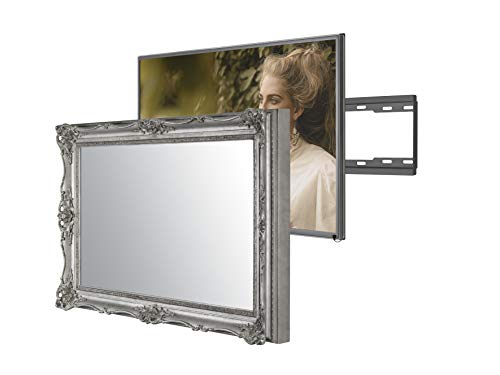 Handmade Framed Mirror TV with Samsung to Blend This Hidden Mirrored Television into Your Home or Business Decor (55 Inch, Surrey Silver)