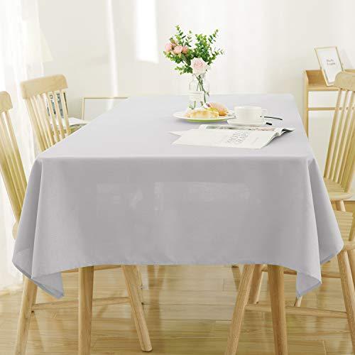 Deconovo Tischdecke Leinenoptik Wasserabweisend Tischwäsche Lotuseffekt 130x160 Hellgrau