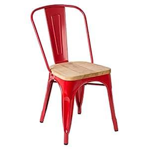 Finition Revêtement poudre couleur rouge Chaise Aldgate (Quartier de Londres) fabriqué par Matière et frêne massif Siège