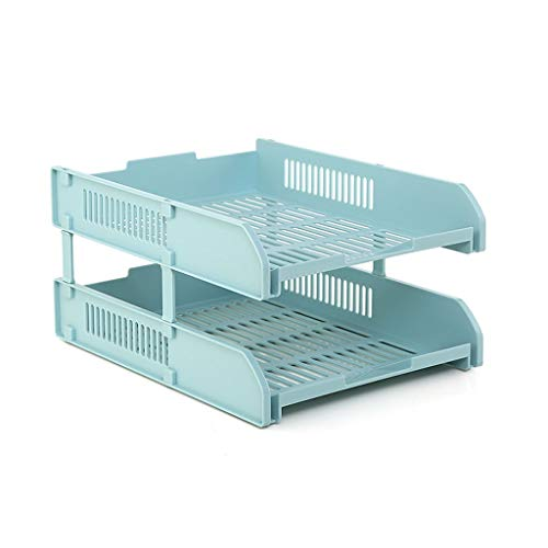 Titolare di file Plastic A4 Letter Vassoio, impilabile A4 Vaschetta portacorrispondenza Desktop Storage Box (Color : Blu)