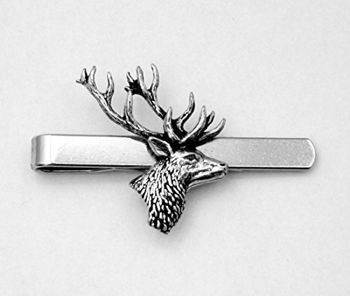Stags Head Tie Clip (slide), Handmade, Gift Boxed, Deer (ab)