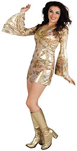 Gr. 36-40 Disco Fever Diva Kleid Partykleid Party Karneval Kostüm Damenkostüm siebziger 70er (Diva Kostüme Kleid)