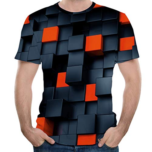 Routinfly Mens 3D Printing Square Tees Shirt,Männer Sommer Casual Kurzarm T-Shirt Bluse Tops T-Shirts Tunika Pullover -