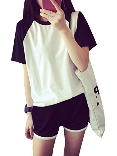 Dabag camicie da notte donna ragazza pigiama estivo maglie e pantaloncini due pezzi simpatiche classico maglie pigiami manica corta shorts sexy comodo (xxl, bianco)