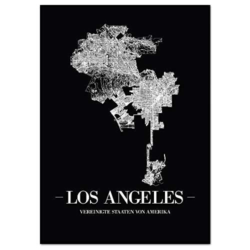 JUNIWORDS Stadtposter - Wähle Deine Stadt - Los Angeles - 21 x 30 cm Poster - Schrift A - Schwarz