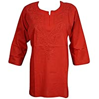 Mogulinterior Woman's Tunic Cotton Floral Embroidered Bohemian Kurta Top Blouse