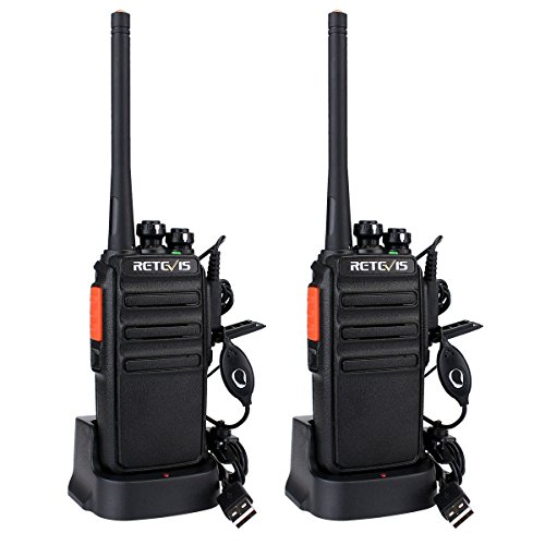 Retevis RT24 Plus Walkie Talkie 16 Kanäle UHF PMR446 Wiederaufladbar USB-Kabel Headset (1 paar,Schwarz)