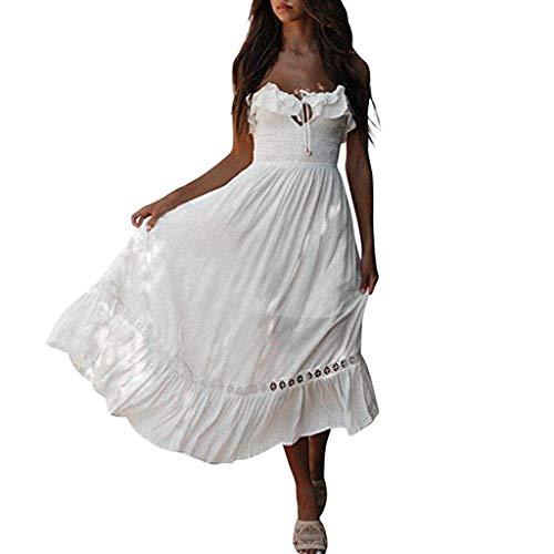 Kleider Damen Dasongff Sommerkleider Frauen Bikini Bademode Cover Up Cardigan Beach Badeanzug Kleid Strandkleid Chiffonkleid Weiß (Weiß-H, L) -