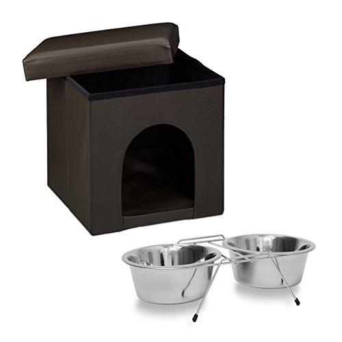 Relaxdays 2 teiliges Set Home Sweet Hund XL, Hundebox als Sitzhocker mit Tierhöhle, Hundebett braun, Doppelnapf Futterstation