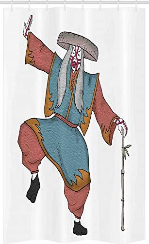 Asiatische Kostüm Masken - ABAKUHAUS Kabuki-Maske Schmaler Duschvorhang, Asiatischer Kostüm Hut, Badezimmer Deko Set aus Stoff mit Haken, 120 x 180 cm, Mehrfarbig