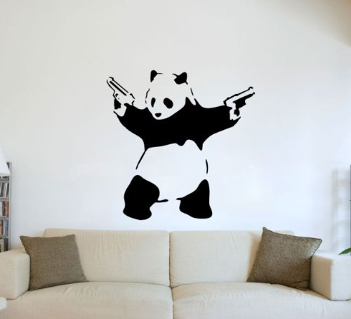 (XLARGE)BANKSY GRAFFITI PANDA GUNS WALL ART VINYL DECAL STICKER 24 COLOURS AVAILABLE by WALL ART DESIRE