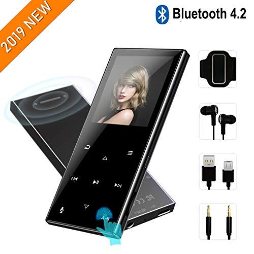MP3-Player mit Bluetooth 4.2-2019 Neues aktualisiertes Modell,tragbarer MP3-Player,62-Stunden-Wiedergabezeit,Touch-Tasten,integrierter Lautsprecher,8GB-Unterstützung für bis zu 128 GB,Schwarz